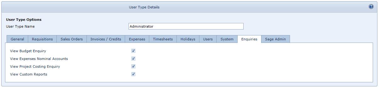 User Settings Enquiries Tab