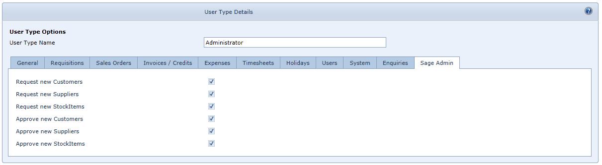 User Settings Sage Admin Tab