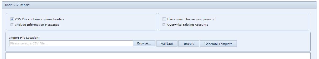 User Settings CSV import