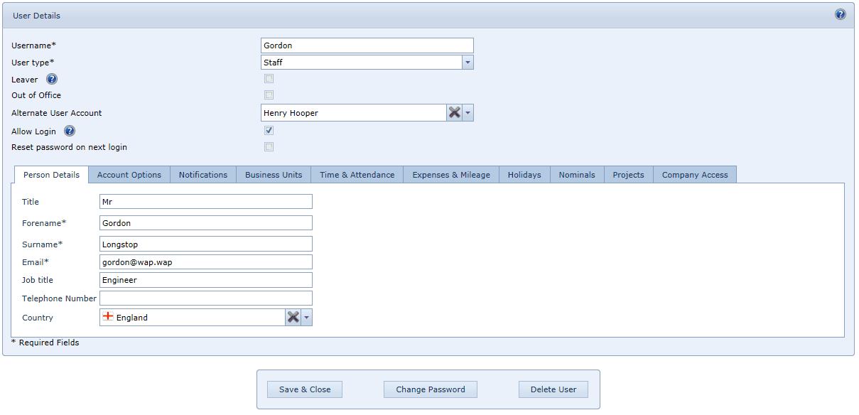 User Settings Personal Details Tab