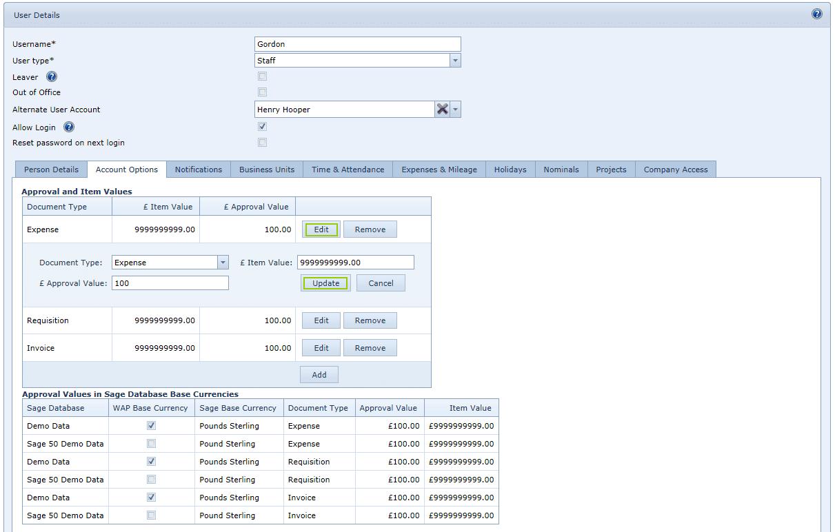 User Settings account options tab