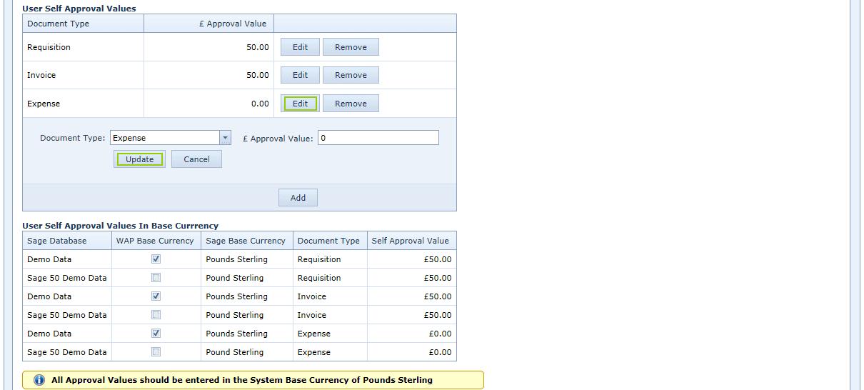User Settings account options