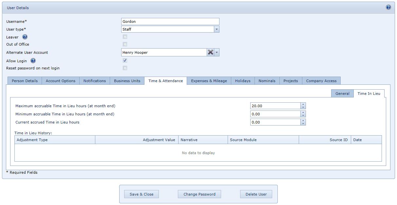 User Settings TOIL