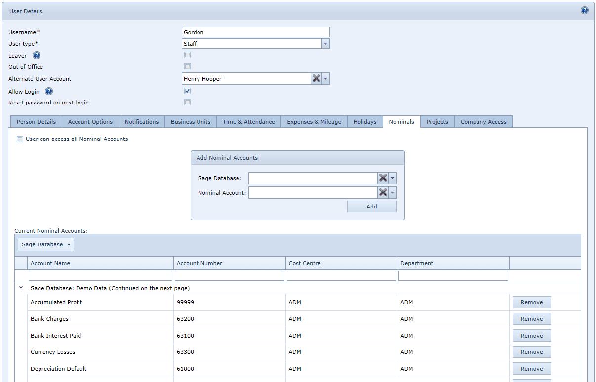 User Settings Nominals Tab