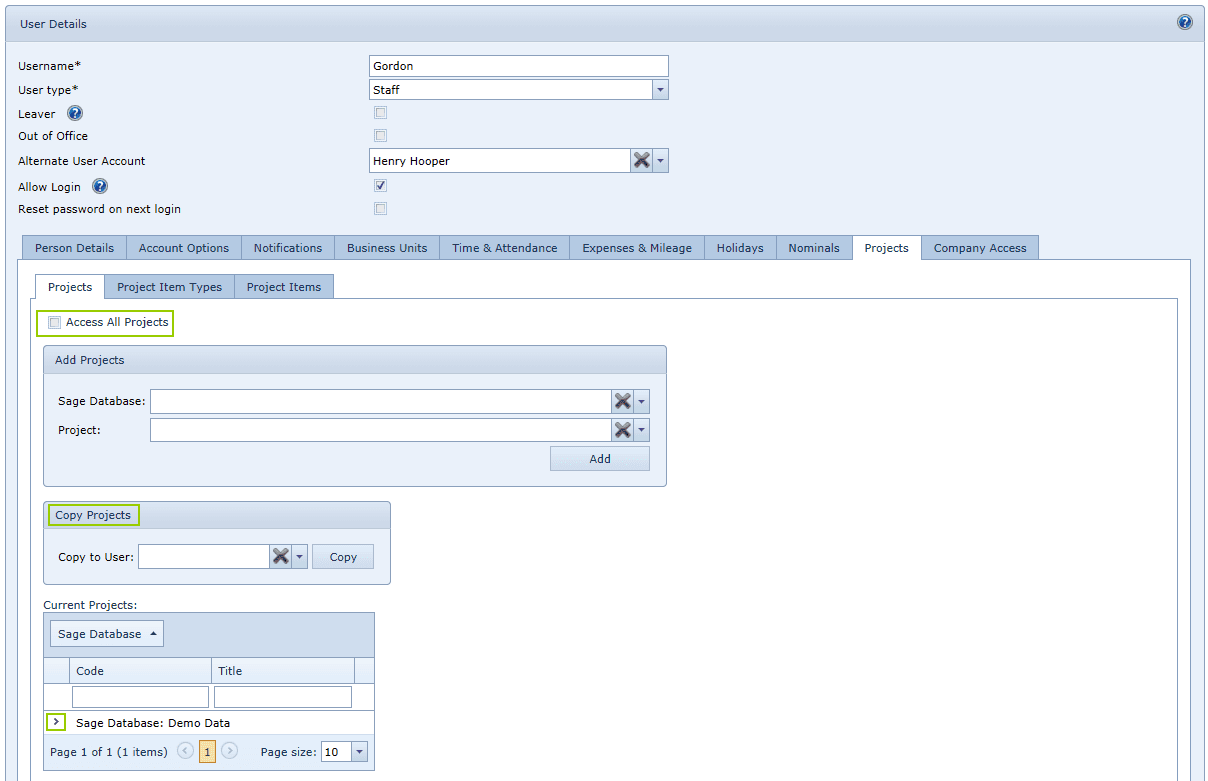 User Settings Projects Tab