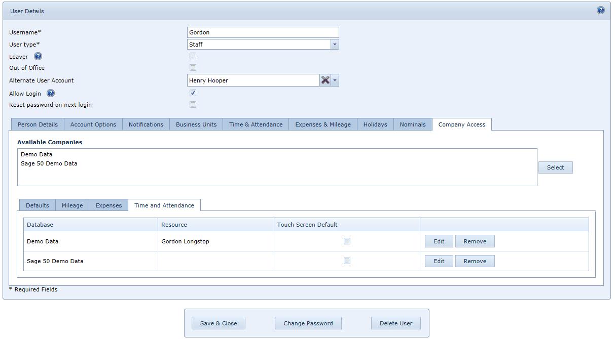 User Settings T&A Tab