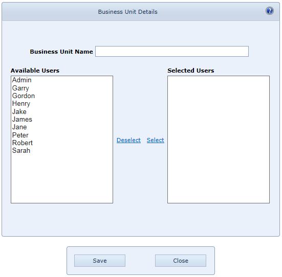 User Settings Business Units