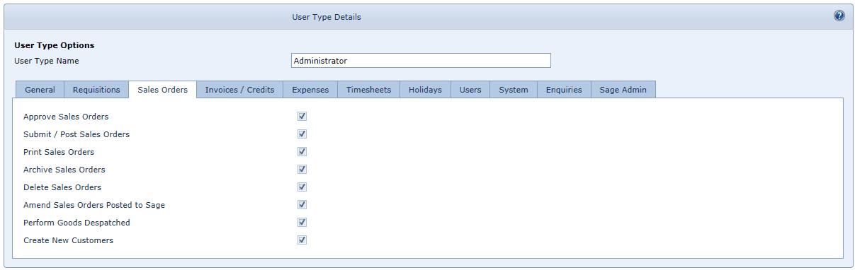 User Settings Sales Orders Tab