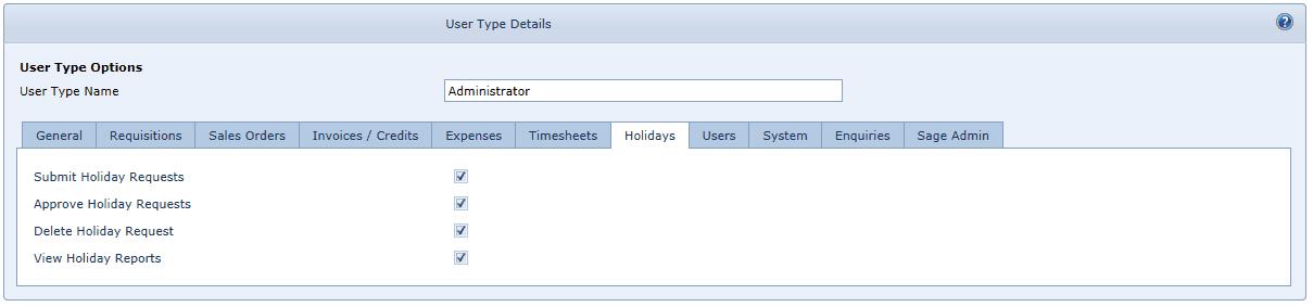 User Settings Holidays Tab