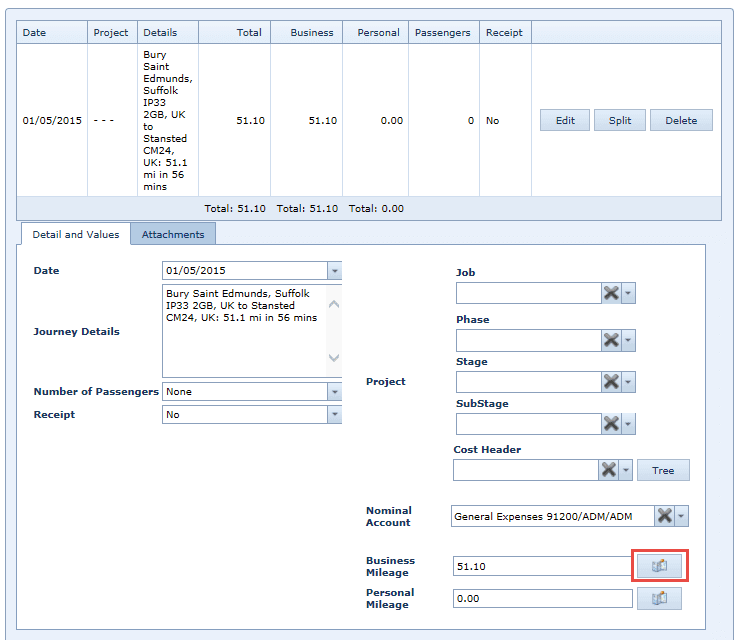 WAP Expenses - Add Mileage