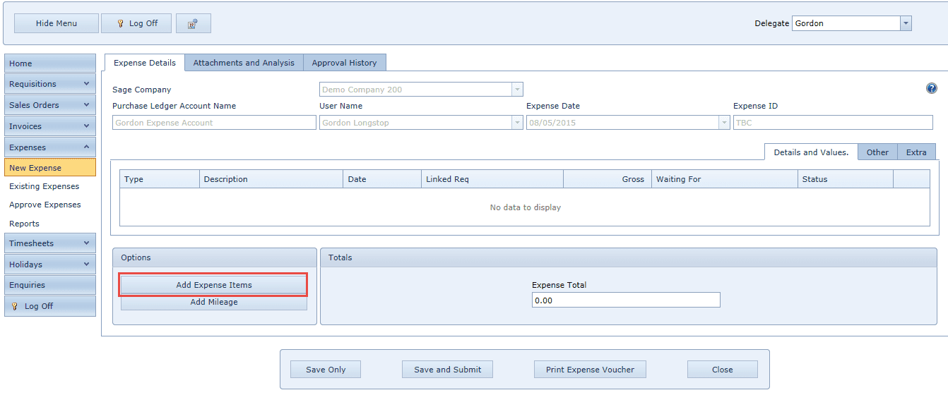 WAP Expenses - New Claim