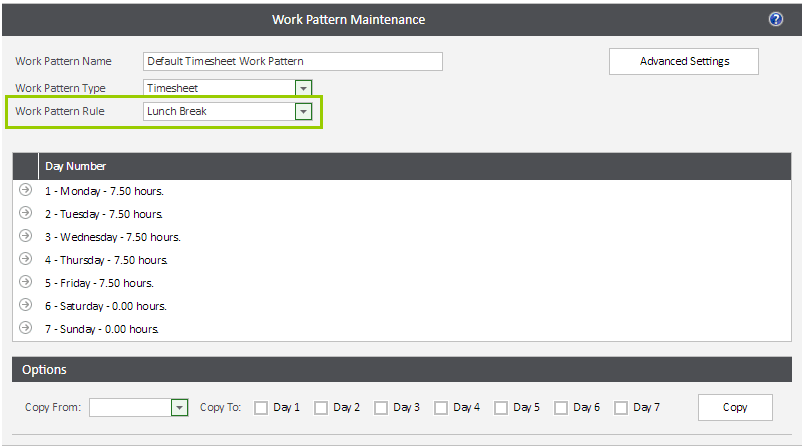 Sicon WAP Timesheets Help and User Guide - work pattern maintenance