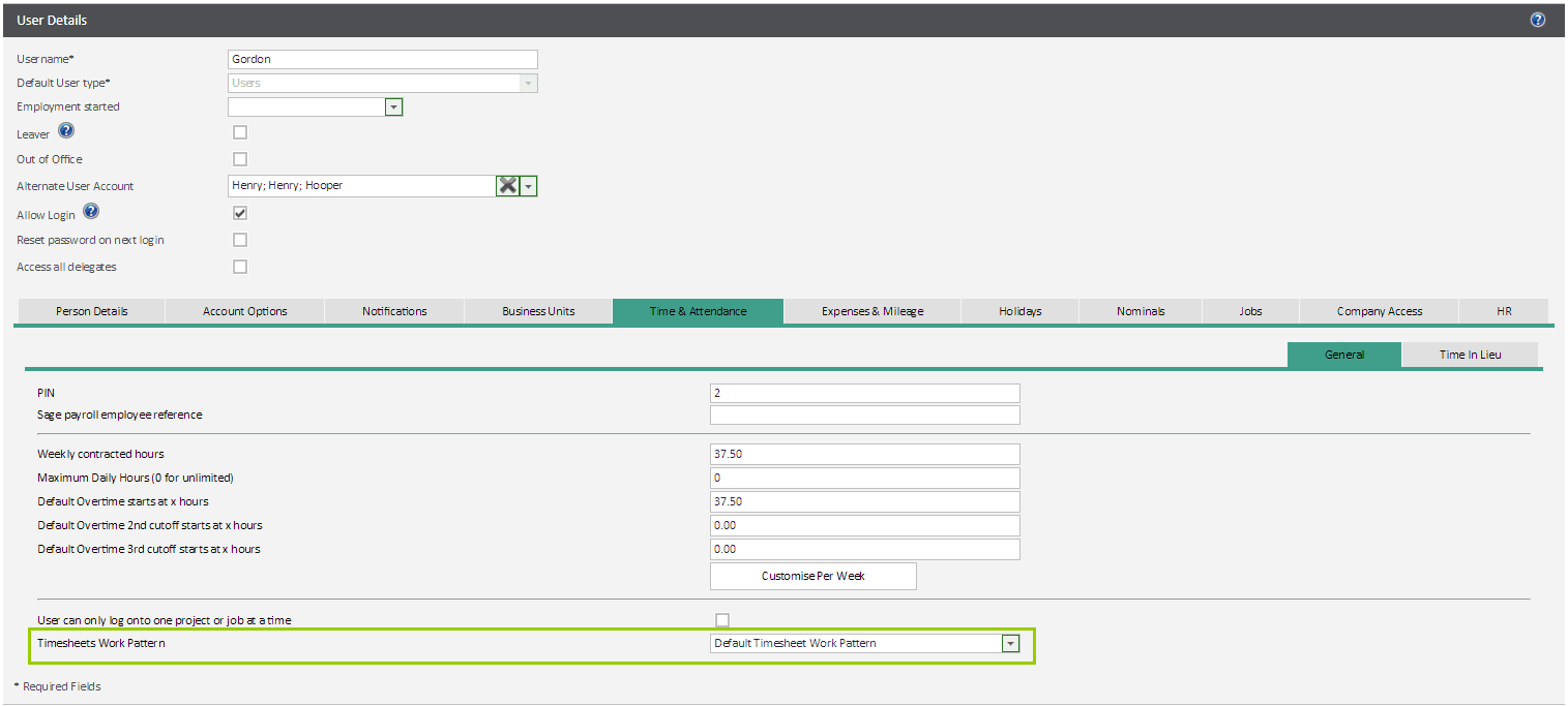 Link users to a new timesheet work pattern