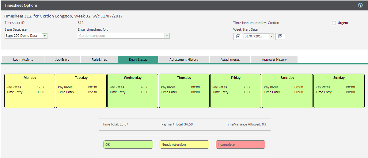 Sicon WAP Timesheets Help and User Guide - Entry Status
