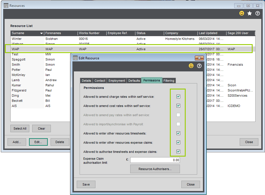 Sicon WAP Timesheets Help and User Guide - Edit Resource Permissions TAB