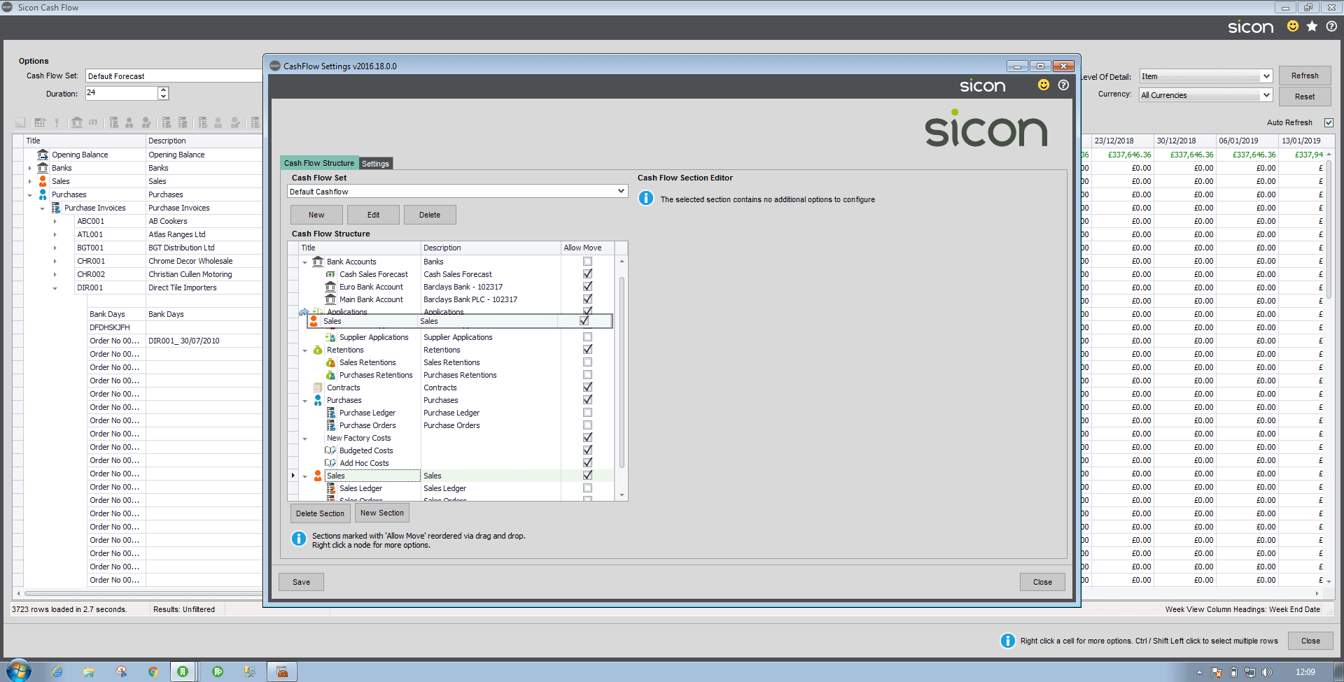 Sicon Cash Flow Help and User Guide - Adding / Amending Sections