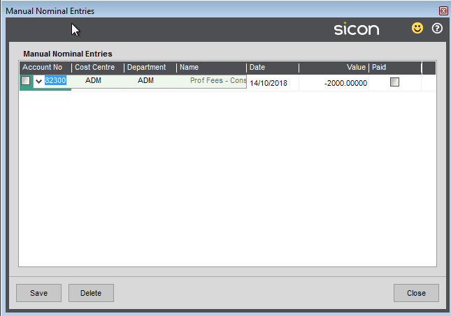 Sicon Cash Flow Help and User Guide - Ad-Hoc / Manual Nominal Ledger Entries 2