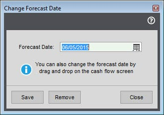 Sicon Cash Flow Manager - Cash Flow Forecast Change Forecast Date