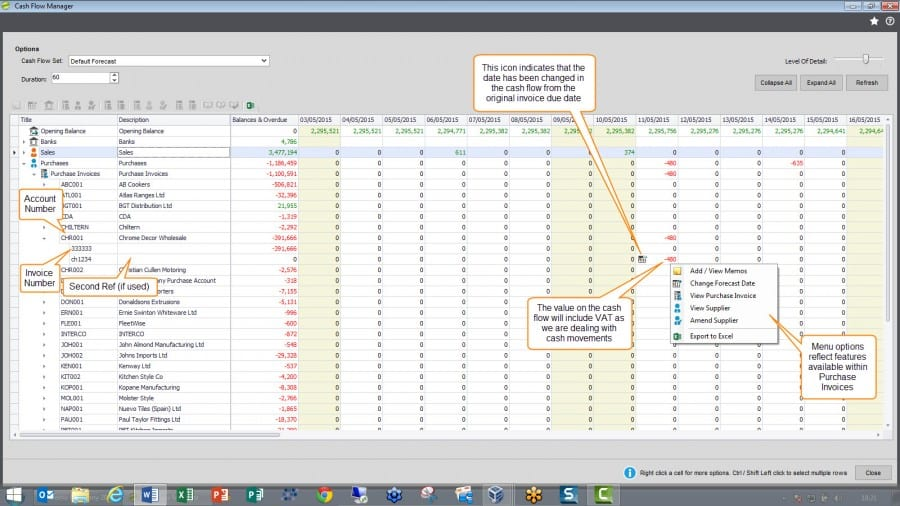 Sicon Cash Flow Manager - Cash Flow Forecast Purchase Invoice Detail