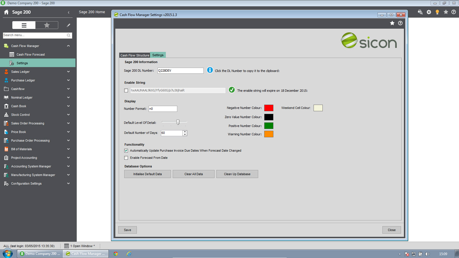 Sicon Cash Flow Manager - System Settings