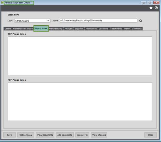 COM001 Amend Stock Item Details