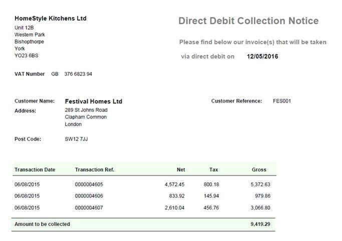 Sicon Direct Debit Help and User Guide - Process Direct Debits - Collection Note