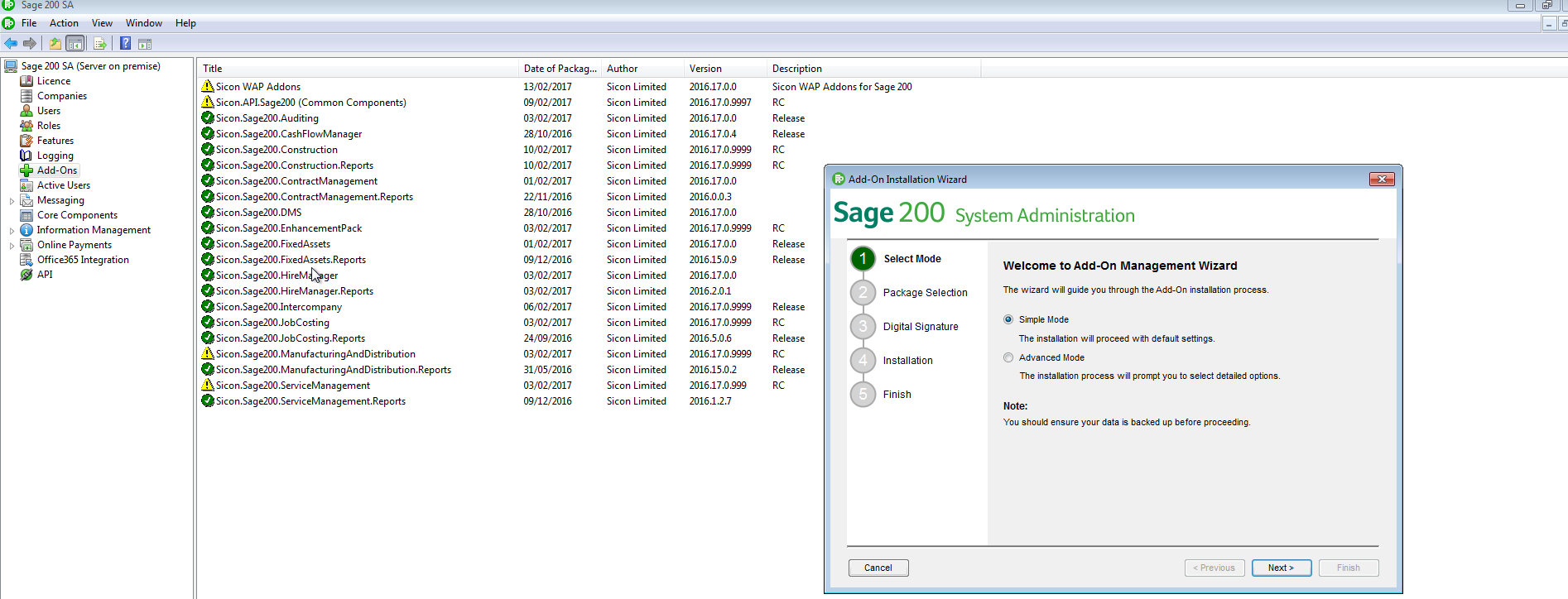 Sicon Additions for Sage 200 - Installing Sicon Add On's within Sage 200 System Administrator