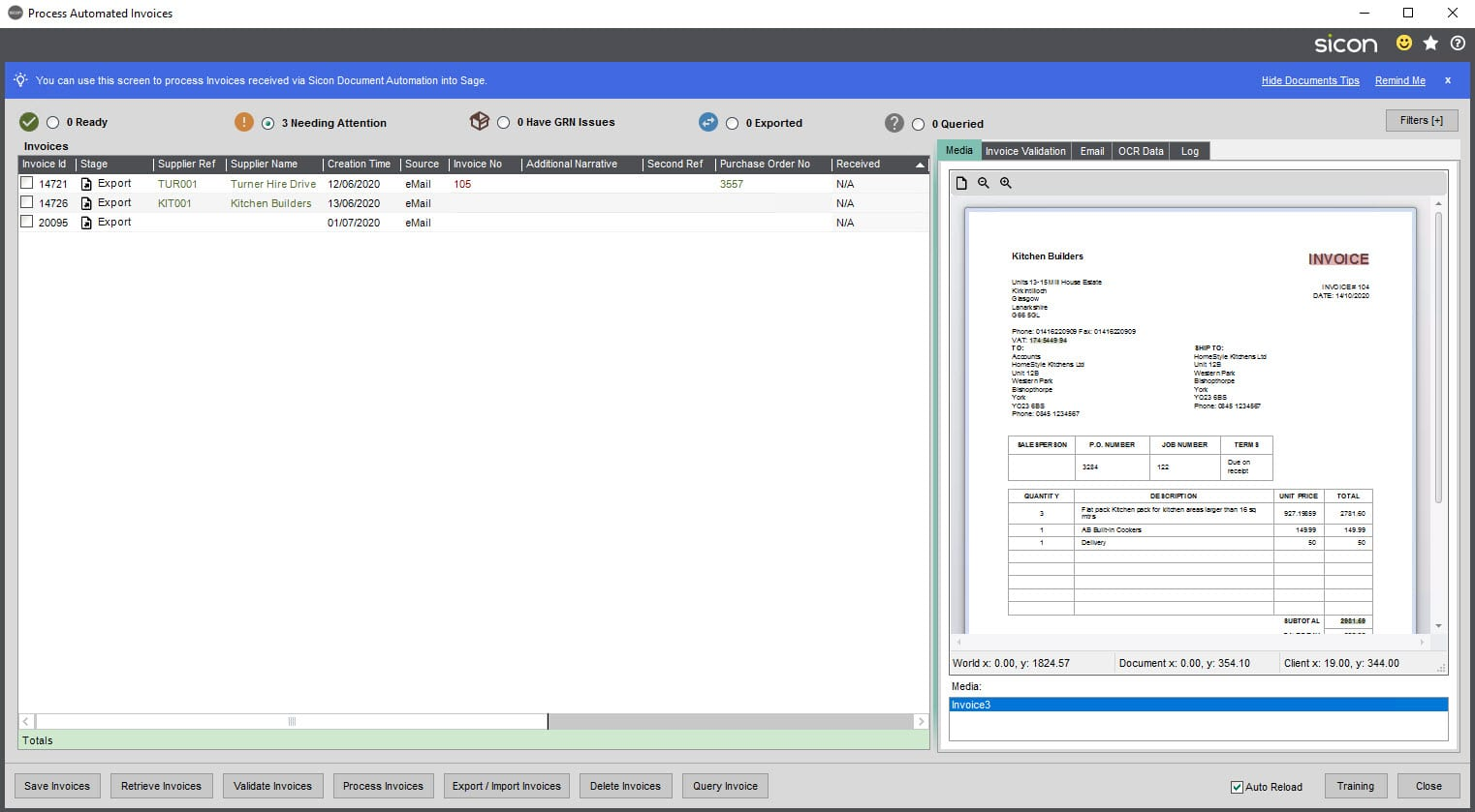 Sicon Documents Help and User Guide - 10.2 Process Automated Invoices