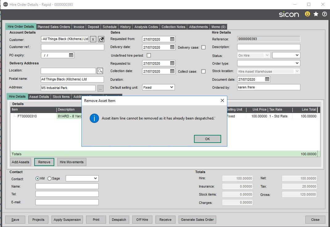 Sicon Hire Help and User Guide - 12 Remove a line screen 2