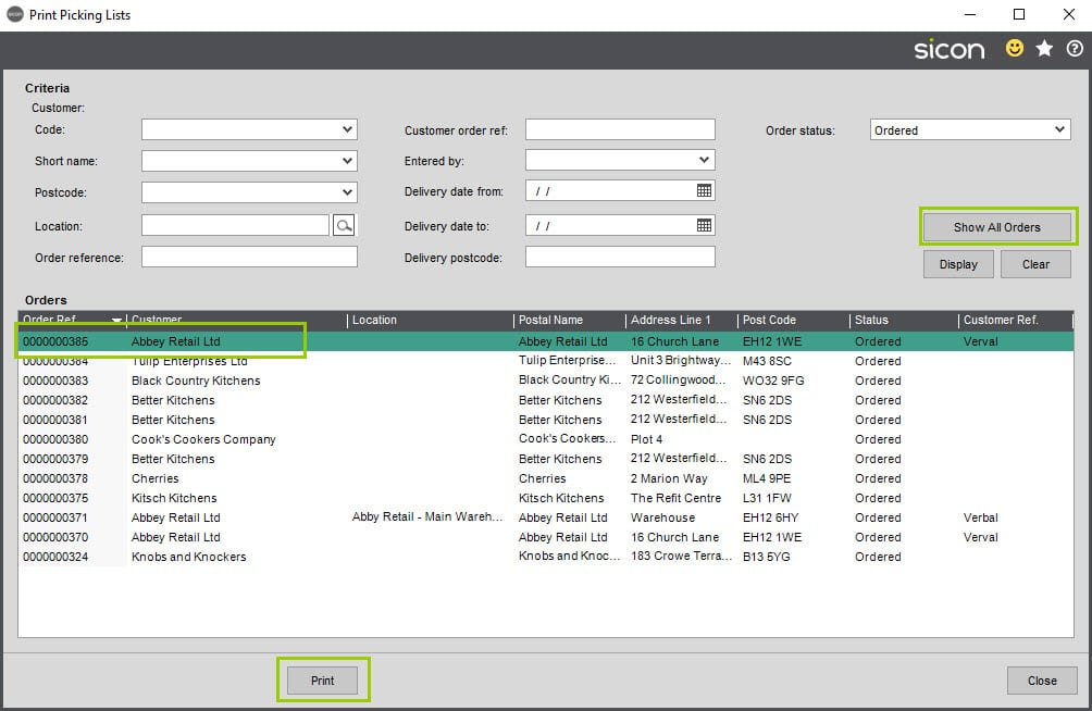 Sicon Hire Help and User Guide - 15.3 Print picking list screen 1