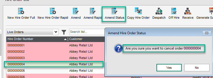 You can access Amend Hire Order Status from either the menu structure as above or from the list view as below