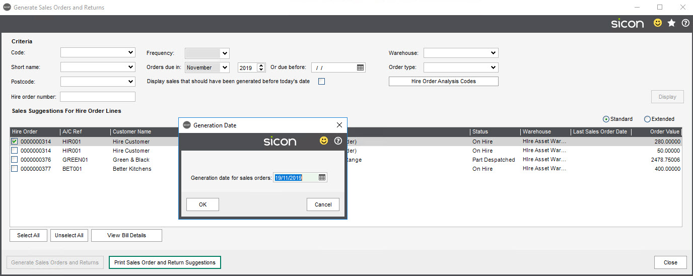 Sicon Hire Help & User Guide - Generate Sales Order