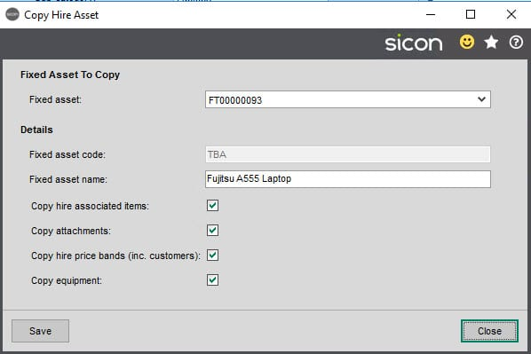 Sicon Hire Help and User Guide - 23.1 Copy Hire Asset screen 1