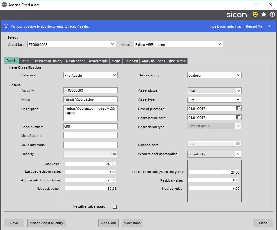 Sicon Hire Help and User Guide - 23.1 Copy Hire Asset screen 2