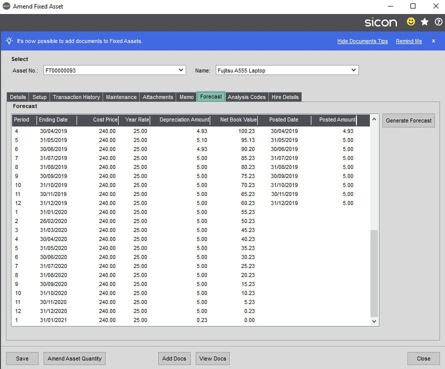 Sicon Hire Help and User Guide - 23.1 Copy Hire Asset screen 3