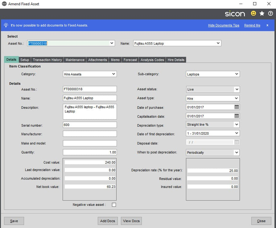 Sicon Hire Help and User Guide - 23.1 Copy Hire Asset screen 5