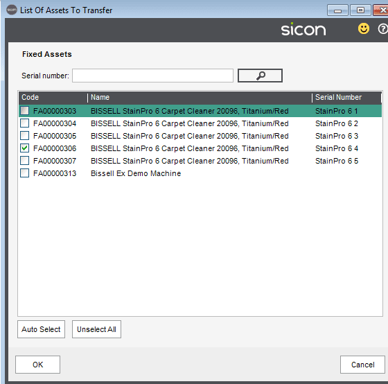 237. Sicon Hire Help and User Guide - adjustments - list of assets to transfer