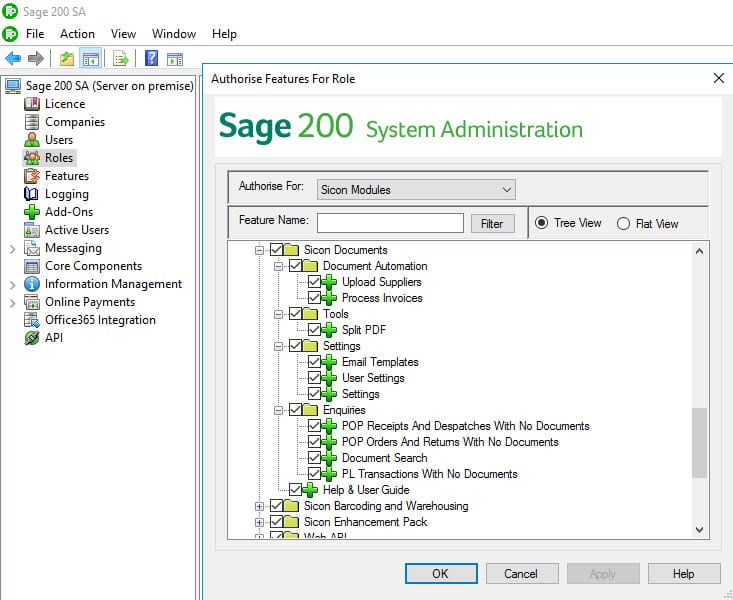 Sicon Documents Help and User Guide - 3 Sage Admin Features
