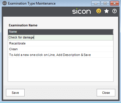 37. Sicon Hire Help and User Guide - maintain examination inspection types