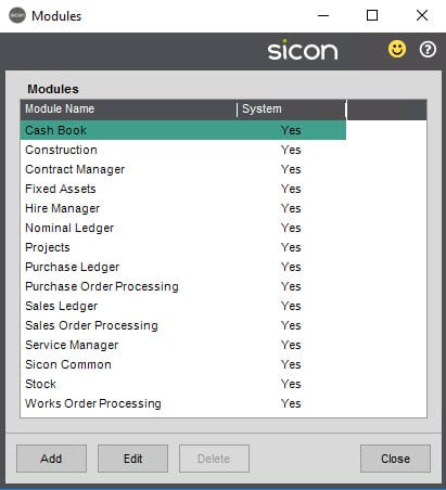 Sicon Documents Help and User Guide - 4.4 Modules