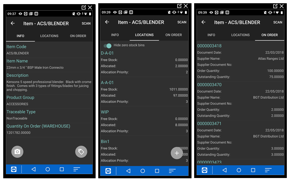 Barcoding & Warehousing Handheld - Stock Enquiry Screens
