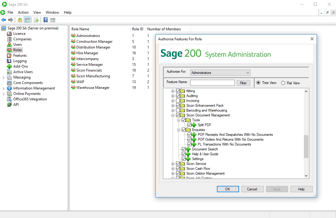Sicon Document Management (DMS) Help and User Guide - Sage admin features