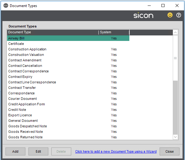 Sicon Documents Help and User Guide - Document Types