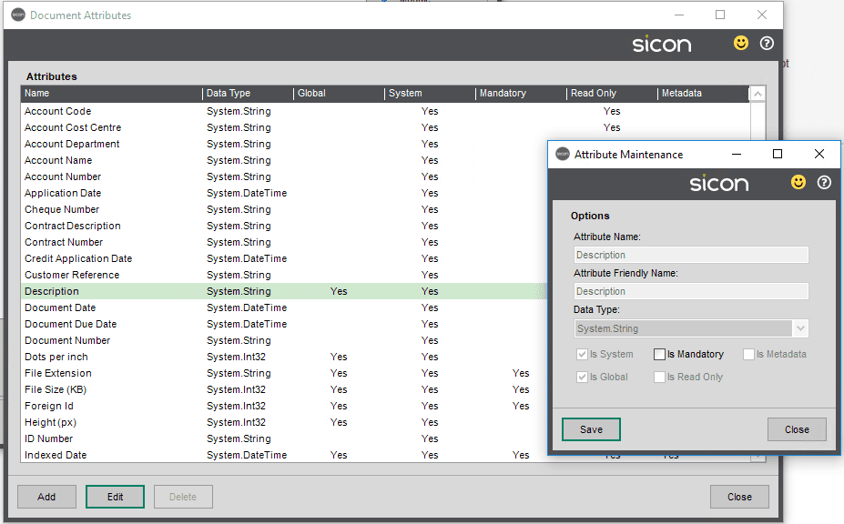 Sicon Documents Help and User Guide - Document Attributes