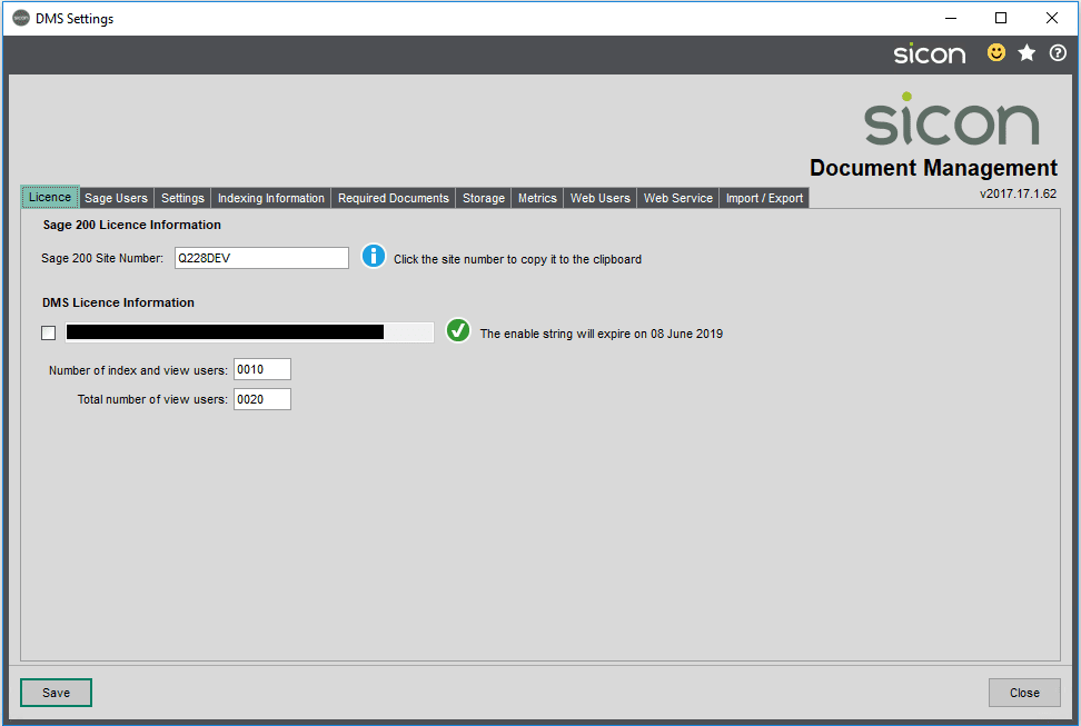 Sicon Documents Help and User Guide - Settings - Licence Tab