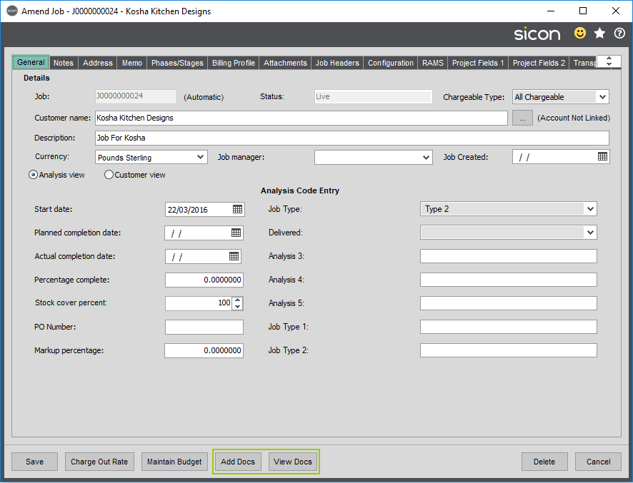 Sicon Documents Help and User Guide - DMS with Sicon Job Costing