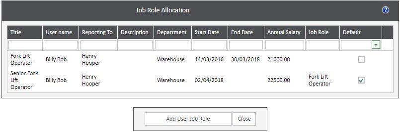 Sicon WAP Help and User Guide HR Module - Job Role Allocation
