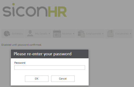 Sicon WAP Help and User Guide HR Module - Password Screen