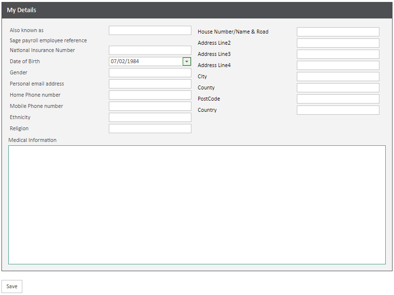 Sicon WAP Help and User Guide HR Module - My Details Screen
