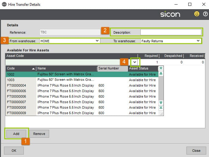 Sicon Hire Help and User Guide - Hire Transfers screen 3